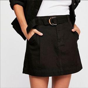 Free People Jade Belted Denim Mini Skirt Black